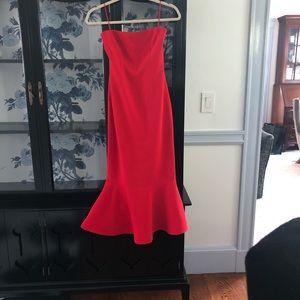 Cinc à Sept red strapless dress